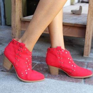 Shoes - 🆕️//The Jordan// Red western studded bootie
